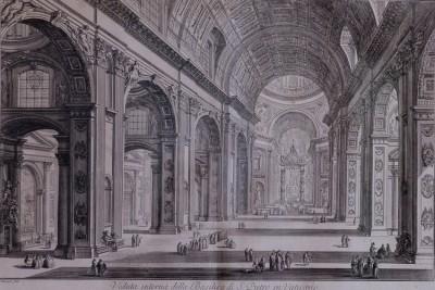 Hill-Stead Prints Piranesi Veduta interna della Basilica di S. Pietro in Vaticano