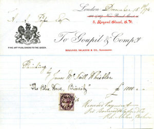 A receipt for the purchase of The Blue Wave, Biarritz, (1862) in 1894. Alfred Pope frequently purchased works from Goupil, later known as Boussod Valadon.