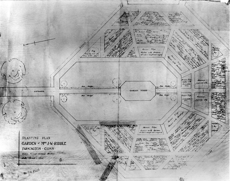 The Sunken Garden Hill Stead Museum Schematic Beatrix Farrands Original Planting Plan For