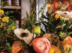Floral arrangements in a historic setting